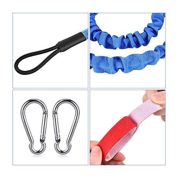 """FIRINER 2 Pack Stretchable Paddle Leash with D-Shape Carabiner, 3.6ft Kayak Paddle Tether Set Coiled Strap Bungee Leash… 7 【Easy to Use】This paddle leash is easy to use and attach. All you have to do is to tie its one end to the paddle or fishing rod and attach the other end to your life jacket or your boat with the carabiner 【Stretchable Design】The kayak leash paddle can be extended from 44.8 inch to 59 inch, which is long enough for most usage. 14"""" of elongation keeps you reach what you need when paddling or reeling to a large extent 【Durable】This kayak paddle leash is made of 6mm super strong elastic rubber to make sure its service time, the fixed elongation won't over stretch and loose elasticity. And nylon outer greatly increase its anti-corrosion performace and longer service life"""