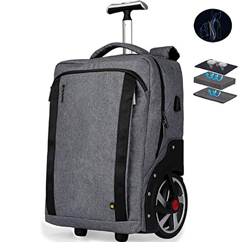 YASB 26-Inches Men'S Travel Trolley Bag, Wheel Luggage Backpack, School Bag for Boys And Girls, with High Heat Dissipation, Rubber Wheels,Gray