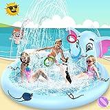 AOLUXLM Planschbecken für Kinder ab 3 Jahre Sommer Outdoor Spielzeug Splash Aufblaserer Pool mit 3 Ringe Elefant 170*170*60 cm Sprinkler Wasserspielzeug