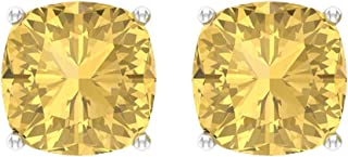 6 Ct Cushion Cut Citrine Stud Earring, Certified Solitaire Gemstone Earring, Classic Partywear Earring, Bridal Wedding Earring, Screw back