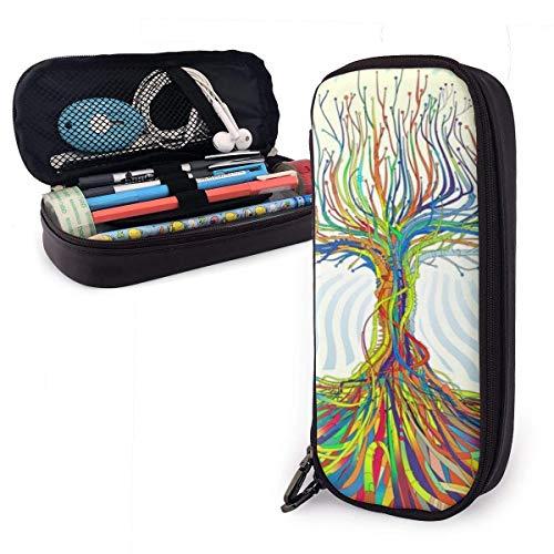 ZWHSY Bunte Baumwurzel große Kapazität Bleistiftetui PU Leder funktionale Schreibwaren Taschen