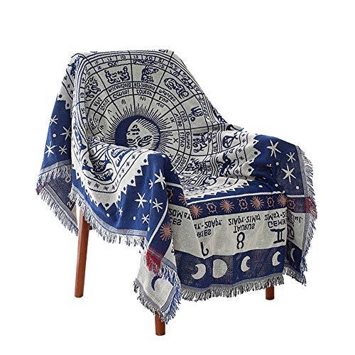 GSJJ Decorativo Manta Sobrecama Sofá Sillón Cama Estilo Bohemio Borlas de Jacquard Algodón poliéster Tejido Calentar Cubrir Toalla de Playa Manteles Patrón de constelación,White,130 * 180cm