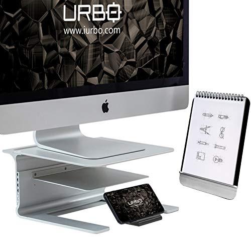 Urbo Pico Ergonomische 4-in-1 Monitor Stander mit Ablage für Dokumente und Zubehör, abnehmbare Handy Halterung und Dokumentenständer für saubere Schreibtische in Büros Arbeitsräumen