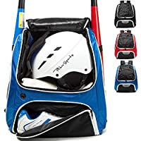AIRTTUZ Baseball Bag - Baseball Backpack for Youth and Adults, Softball Bat Bag with Shoe Compartment and Fence Hook Hold Bat,Helmet,Glove and Shoes. (Blue)