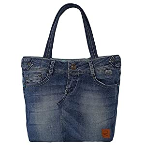 Damen Handtasche, Canvas Tasche blau, Shopper Damen groß, Arbeitstasche aus Jeasnsstoff, Hobo bag elegant