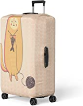 Semtomn Luggage Cover Animal Cute Cartoon Cat Knitting Fish Armchair Ball Clew Travel Suitcase Cover Protector Baggage Case Fits 26-28 Inch