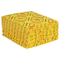 "Hazmat Sorbent Pads, 16 x 18"", Light, Yellow, 100/Case"