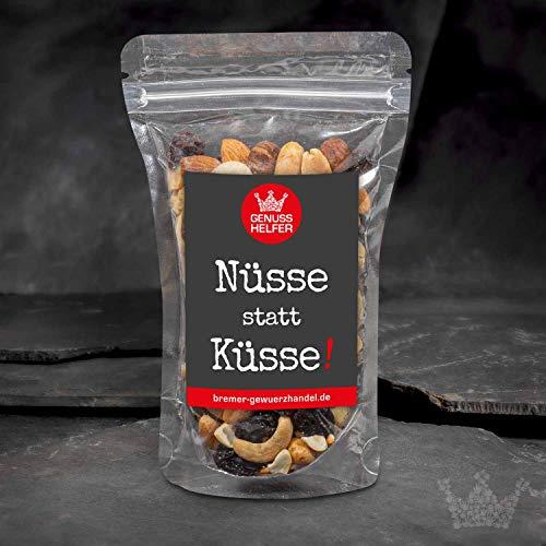 GeNUSSmischung - Nüsse statt Küsse - Ein schönes Knabber-Geschenk für Liebsten, die man gerade nicht küssen kann - 175 g leckere Nuss-Frucht-Mischung - ungeschwefelt - Geschenkidee