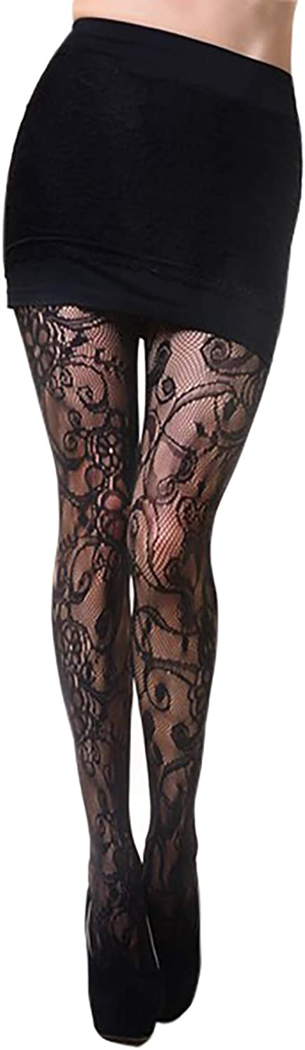 Floral Fishnet Pantyhose (Regular, Whimsical Flowers and Swirling Vines)