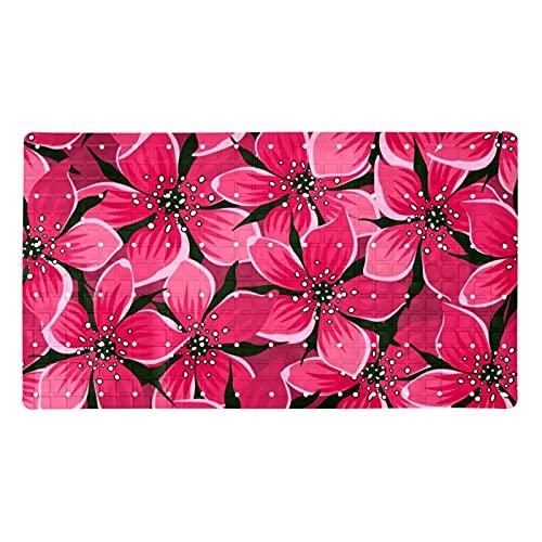 Ameolone Alfombra antideslizante para bañera y ducha, diseño de flores rosas