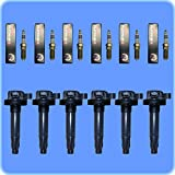Set of (6) Platinum+2 Spark Plugs + (6) AD AutoParts Premium High Performance Ignition Coils For Ford Lincoln Mercury UF553