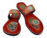 Peint à la main Motif paon Design Femme Biblique Cuir Sandales Dames Fait à la main Tan Multi Colored Strap Sandals Robe Indienne Pantoufle (Numeric_9), Beige (Marron clair.), 39 EU