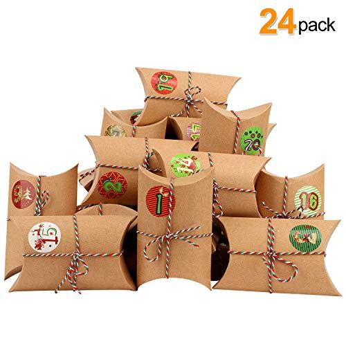 LISOPO 24 Adventskalender Kraftpapier Tüten mit 24 Zahlenaufklebern zum Befüllen/Weihnachten, Papiertüten, Kinder, Zahlen, Geschenkbeutel, Aufkleber
