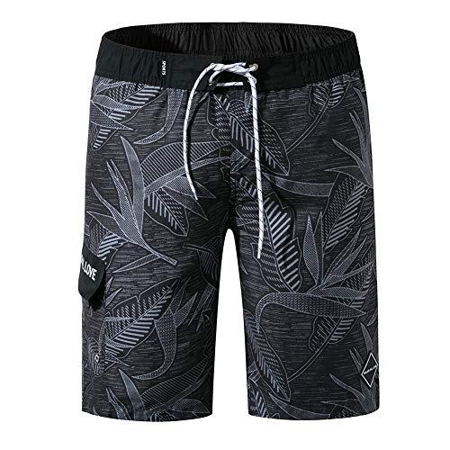 oolivupf Men's Swim Trunks Quick Dry Beach Shorts Swimsuit Casual Style (1902-hei-4XL) Black