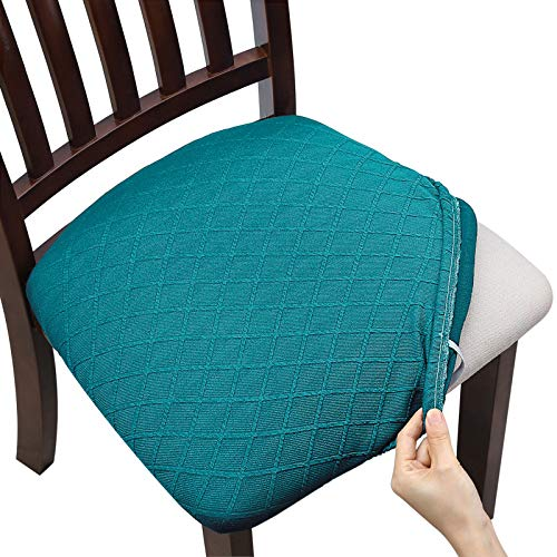 Fuloon 4 6 Pack Stretch Jacquard Chair Seat Covers,Removable Washable Anti-Dust Dinning Room Chair Seat Cushion Slipcovers (4, Peacock Blue)