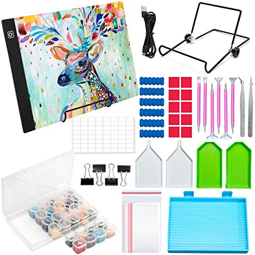 MTSCE Diamond Painting Zubehör LED Licht Pad Diamond Painting Kit Tools mit USB Kabel Abnehmbaren Ständer und Clips,Ideal für Diamant Malerei,Designen,Zeichnen Skizzieren