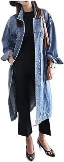 neveraway Women's Fall Winter Maxi Denim Piece Plus-Size Baggy Style Jackets