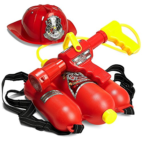 Prextex Fireman Backpack Water Shooter and Blaster with Fire Hat- Water Gun Beach Toy and Outdoor Sports Toy