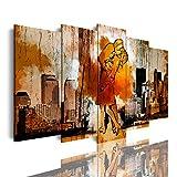 DekoArte 551- Cuadros Modernos Impresión de Imagen Artística Digitalizada | Lienzo Decorativo Para Salón o Dormitorio | Estilo vintage beso marinero y enfermera en Times Square | 5 Piezas 150 x 80 cm