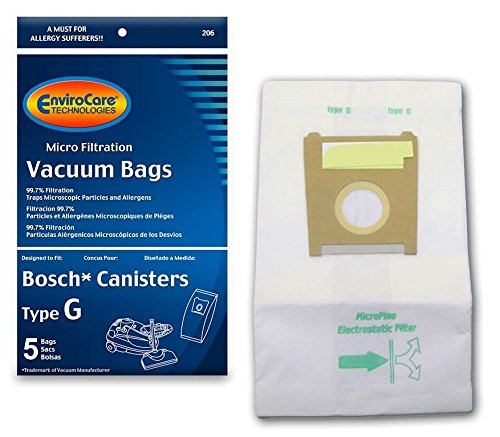 EnviroCare Replacement Micro Filtration Vacuum Cleaner Dust Bags for Bosch Type G Compact Series and Formula Series Canisters. 5 Pack