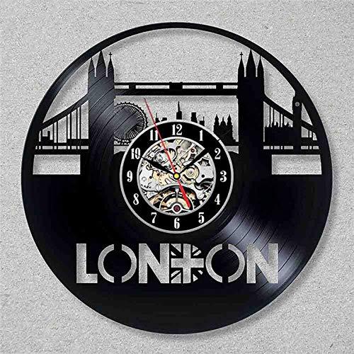 wtnhz LED-London City Retro Vinyl Wall Clock Modern Design Scenic 3D Decoration I Love London Vinyl Record Clock Pocket Watch Home Decor