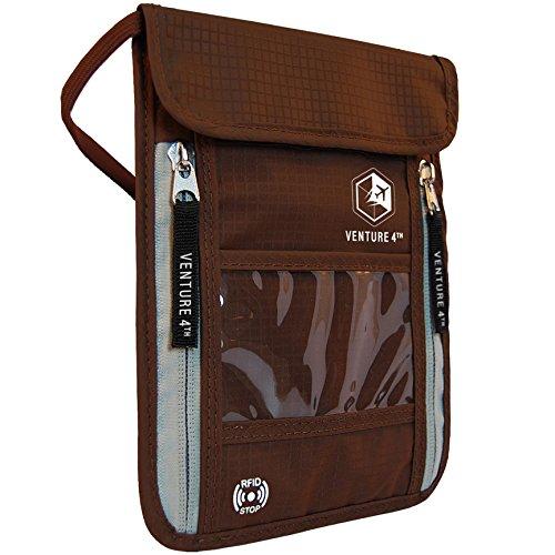 Venture 4th Passport Holder Neck Pouch With RFID – Safety Passport Pouch (Brown)