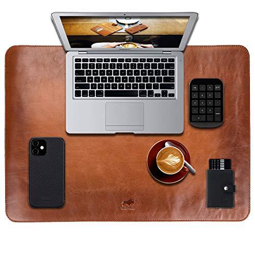 Solo Pelle Hochwertige Schreibtischunterlage Leder für Bürotisch - handgefertigte Schreibunterlage aus Leder - Edel Schreibtisch Unterlage (Cognac Braun, 33cm x 46cm)