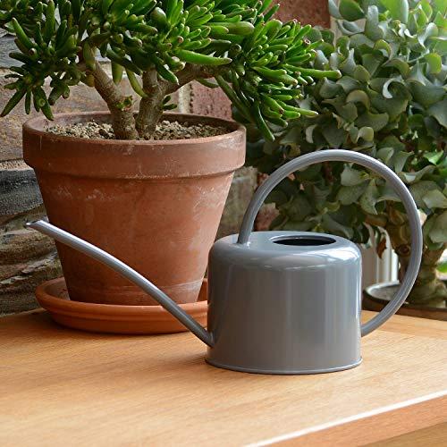 CKB LTD® - Regadera de interior (1,1 L, acero galvanizado, revestimiento en polvo de tiza, para plantas de interior, diseño de metal contemporáneo con boquilla estrecha y mango alto), gris