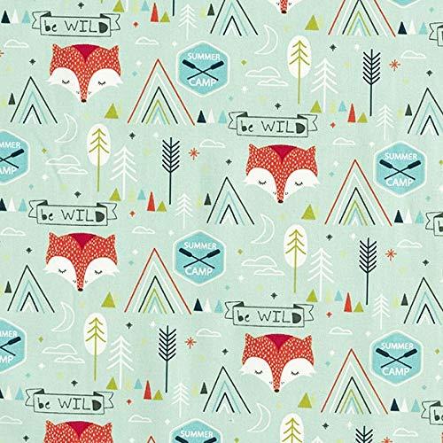 Baumwollstoff Cretonne Be Wild Fuchs – pastellgrün — Meterware ab 0,5m — zum Nähen von Kissen/Tagesdecken, Decken & Tischdekoration