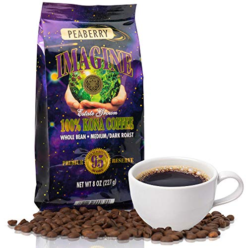 Imagine Kona Peaberry Rare Coffee Beans | Top Grade Air Roasted | Medium Dark Roast - 8 ounce