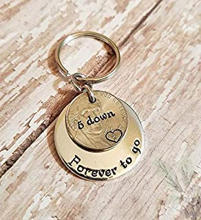 2014 Nickel 5 Years Down Forever To Go 5th Anniversary Key Chain