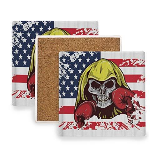 PANILUR USA amerikanische Flagge Schädel mit Boxhandschuhen spielt Streifen Unabhängigkeitstag die Hauptrolle,Untersetzer Saugfähige Keramik,für Tassen Tisch Bar Glas(4 Packs)
