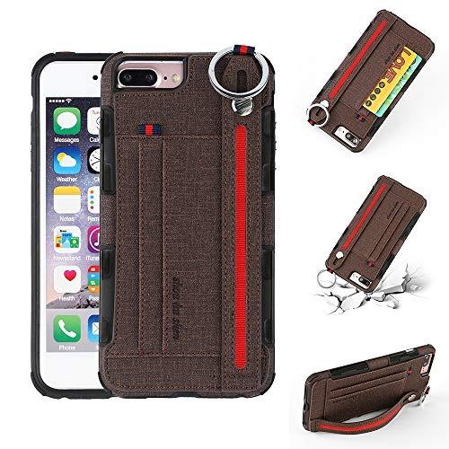 Yiki Good For iPhone 8 Plus & 7 Plus Textura de tela + TPU Funda protectora a prueba de golpes con anillo de metal, soporte y ranuras para tarjetas y correa para colgar (negro)