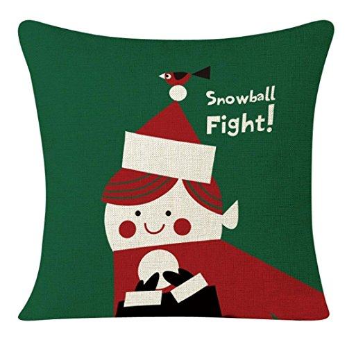 45x 45cm + federe, Kingko Serie di Natale di stampa piazza federa casa cuscino decorativo per divano, letto, auto, giardino (D)