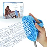 Aquapaw New Equine Grooming Tool - Bath Curry Sprayer and Scrubber in One for Horse, Large Dog, and Livestock Bathing- Garden Hose Adapter Included