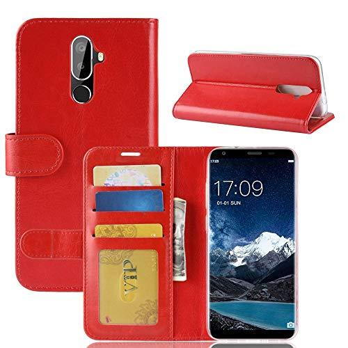 tinyue® Für Oukitel K5 Hülle, Ultradünne PU-Ledertasche Flip Wallet Cover, R64 strukturierte Business Style Ledertasche, Rot