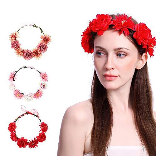 HkFcle (2 Stück) Blumenhaarreifen, künstliche Weihnachtsdekoration Kranz, Hochzeit Haarband Mädchen Haarschmuck Hut Dekoration (Color : #5)
