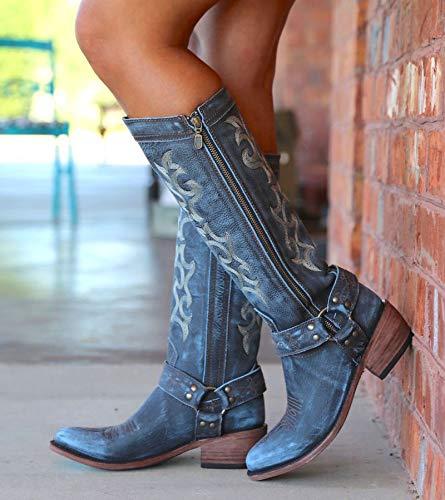 XHHXPY Damen Stiefeletten Cowboy Boots mit Blockabsatz Ankle Boots Stiefeletten Boots Western Cowboystiefel Spitz Zehen Halbhohe Stiefel Stickerei Ritterstiefel,Blau,38