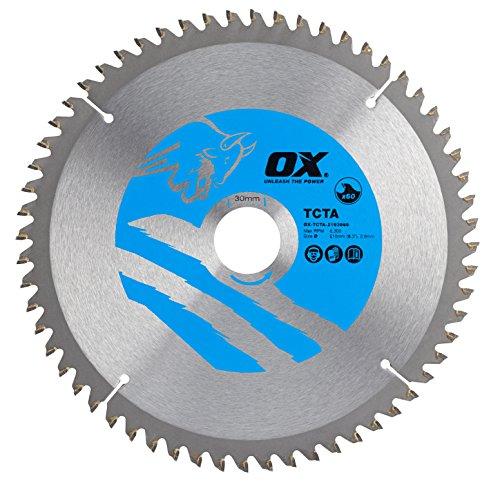 OX Tools OX-TCTA-2103060 OX Hoja de Sierra Circular de Corte de Aluminio/plástico/Laminado Dientes, 0 V, Silver/Blue, 210/30mm, 60 Teeth TCG