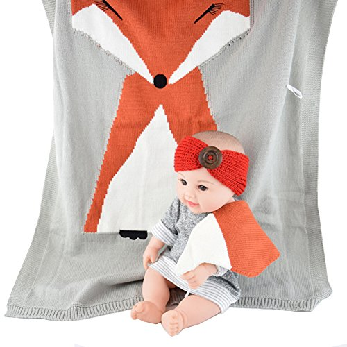 Amkun Couverture pour bébé nouveau-né Fox à tricoter Couverture Parure de lit avec couette pour lit Canapé en laine pour nouveau-né Photographie Props Couverture