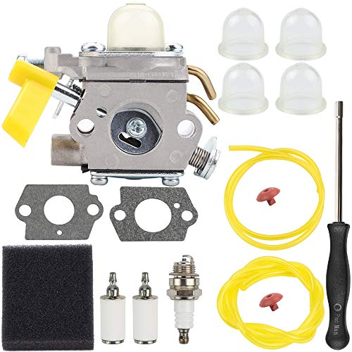 26cc Carburetor with Air Fuel Filter Check Valve for Homelite Ryobi Poulan Craftsman 30cc 26cc Trimmer Blower ZAMA C1U-H60 Carb Replace 308054013 308054012 308054004 308054008