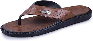 Fashion Men's Slippers Flip-Flops Casual Slip On Microfibe Leather Metaldecor Lightweight Flexible Men's Boots (Color : Brown, Size : 9 UK)