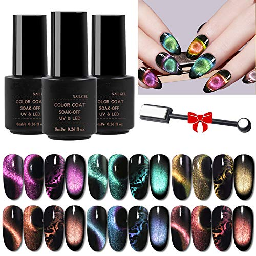 9D Cat Eye Gel Nail Polish Set, Galactic Effect Magic Gel Nail Polish Kit, 6 Colors UV LED Auroras Gel Polish