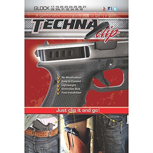 Techna Clip Gun Belt Clip – Glock Models (Except G42 and G43) - Ambidextrous