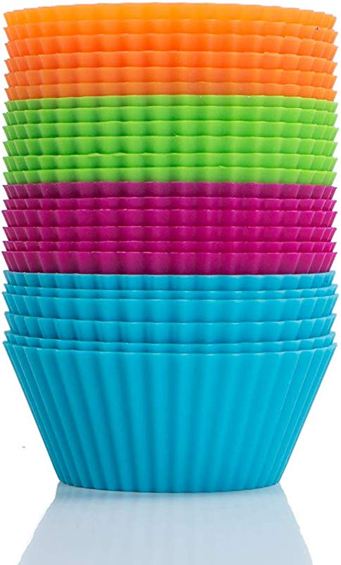 Webake Silicone Cupcake Baking Cups Muffin Liners Reusable Silicon Muffin Tin Non Stick 2 3 4 Inch Regular Size Pack Of 24