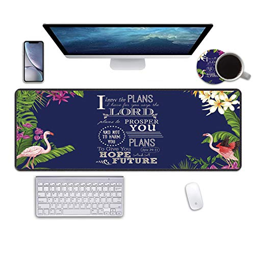 """Desk Pad Mat Gaming Mouse Pads with Coasters, 31.5""""x11.8"""" Large XXL Non-Slip Rubber Base Mousepad with Stitched Edges for Work & Gaming, Office & Home (Christian Bible Verse Jeremiah 29:11)"""