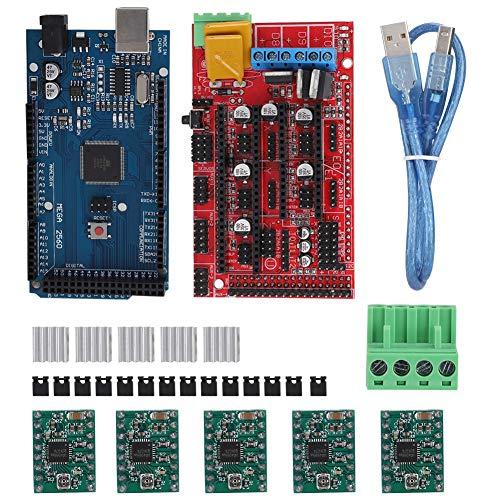 Redxiao Strumento Driver Stampante 3D, Kit Strumenti Accessori Stampante 3D 2560R3 Master Control + Scheda RAMPS 1.4 + 5 unità A4988