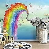 Fotomurales Papel Tapiz Mural Animal Pintado A Mano Dibujos Animados Arco Iris Elefante Pared Habitación De Niños Decoración De Dormitorio De Jardín De Infantes Seda 350X256Cm