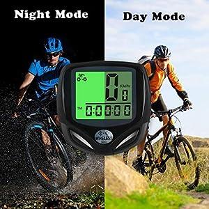Bicicleta Cuentakilómetros, Ciclocomputador Ordenador Para Bicicleta Impermeable Velocímetro Inalámbrico de Bicicleta para bicicleta, odómetro de bicicleta con Retroiluminac múltiples Funciones