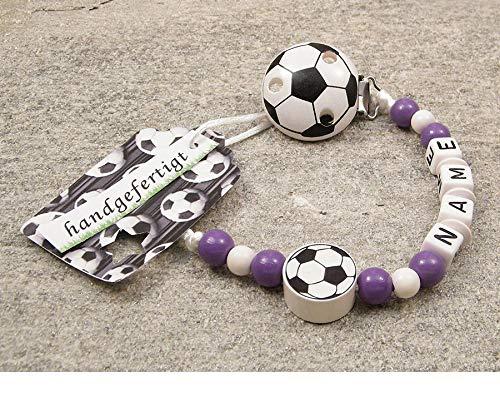 kleinerStorch Baby SCHNULLERKETTE mit Namen - Motiv Fussball in Vereinsfarben - lila, weiß